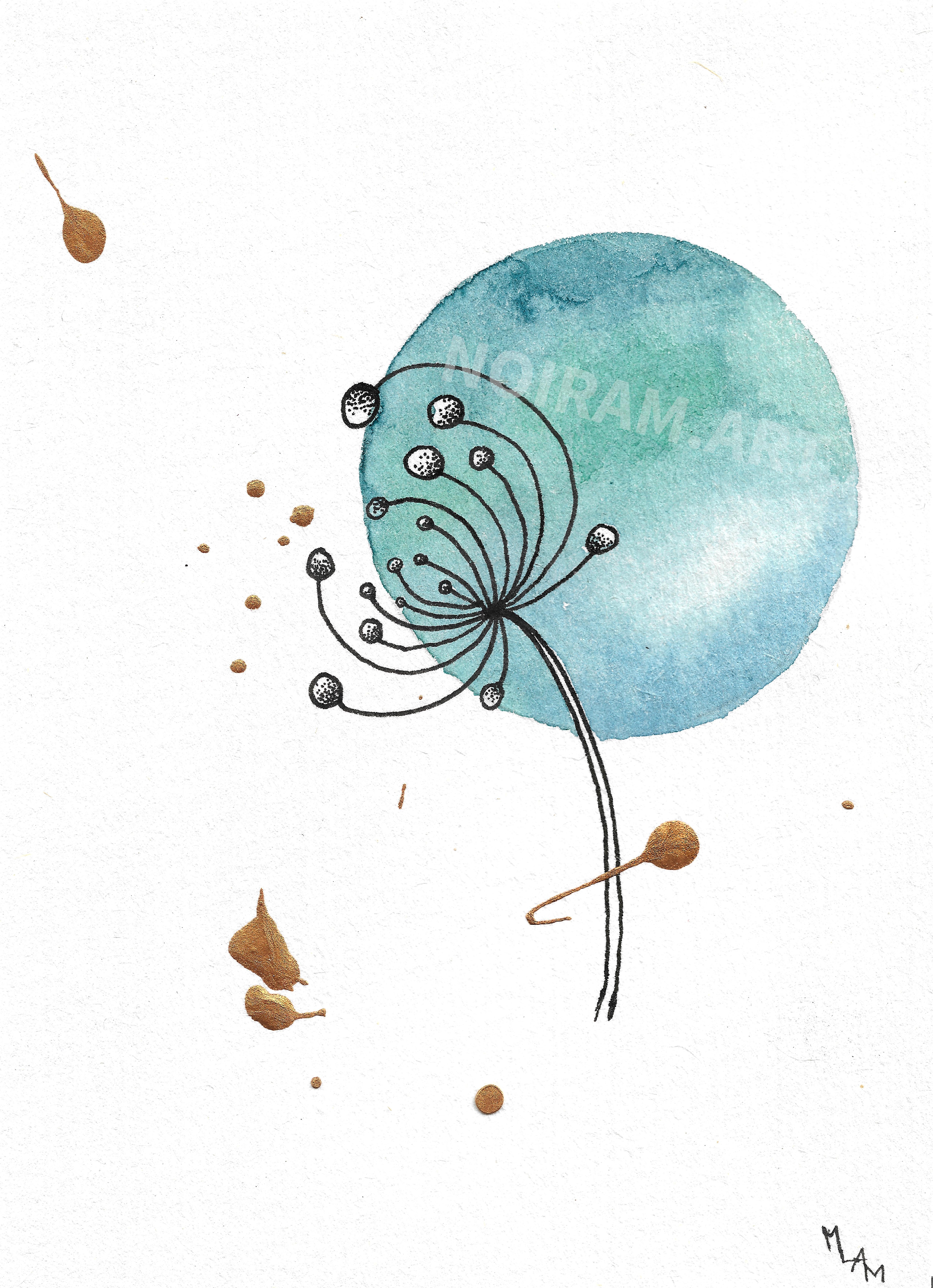 Aquarelle la naissance d'une comète planète plante mlam noiram marion-lorraine poncet