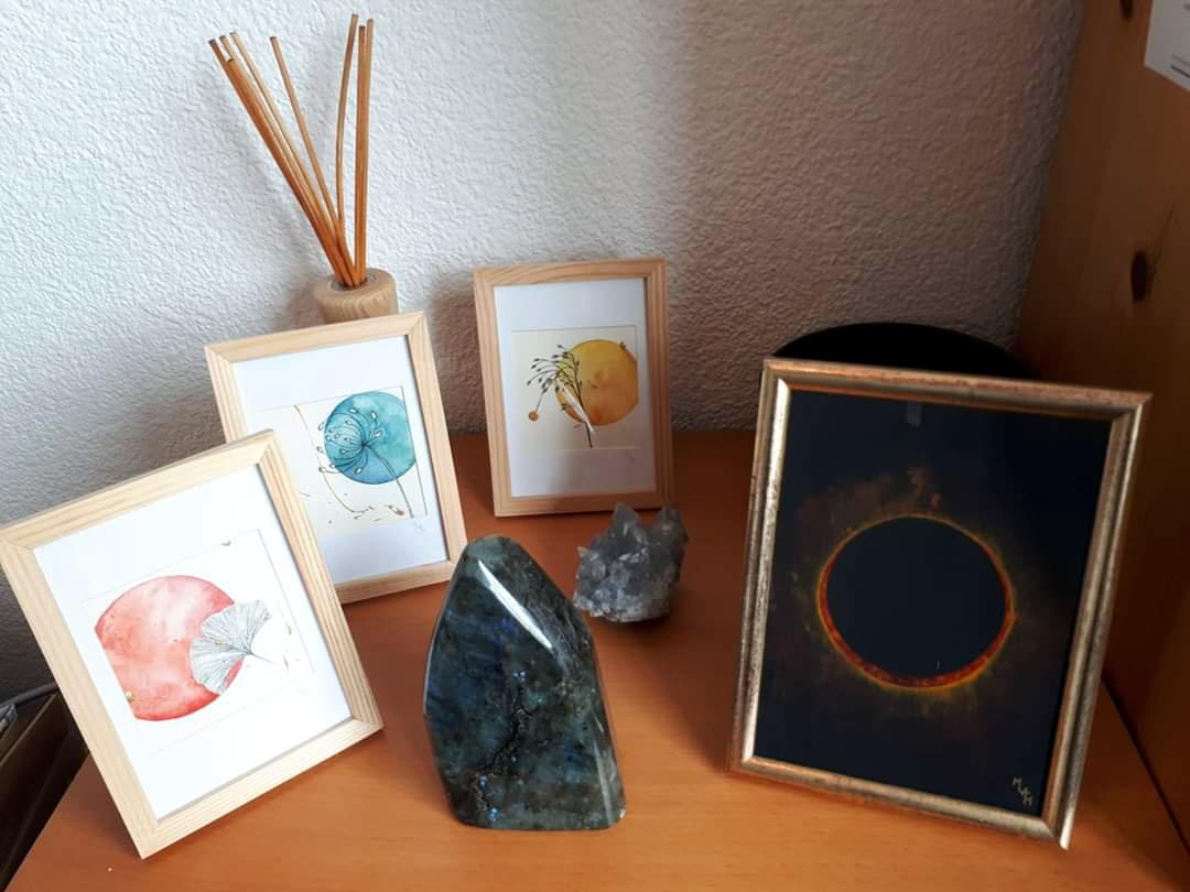 Aquarelle soleil levant sublimation le secrèt gingko éclipse comète planète plante mlam noiram marion-lorraine poncet